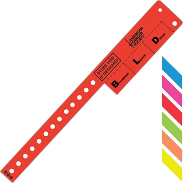Multi-tab Vinyl Wristband, Features 3-tab Pull Off's For Redemption Use Photo