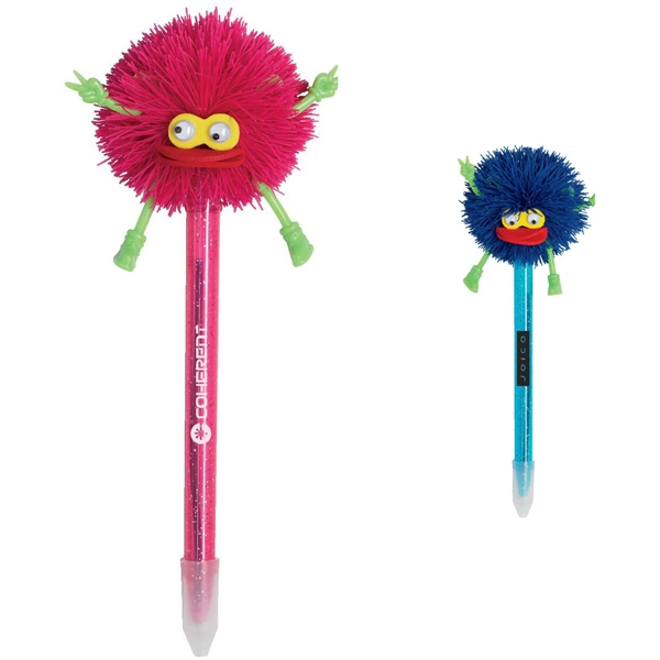 Fuzzy - Ballpoint Pen With Glitter Colored Barrel And Silicone Monster Top Photo