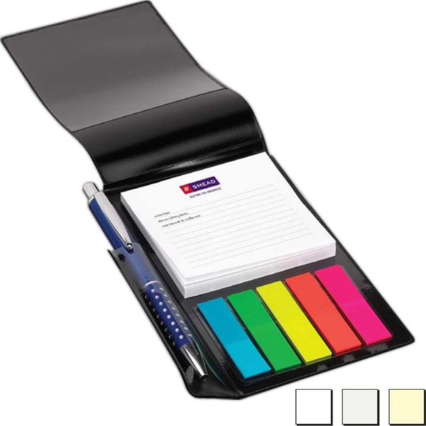 "Note-tote - Imprint On Notepad Only - Vinyl Organizer Holds A 3"" X 3"", 50-sheet Notepad And 100 Flags Photo"