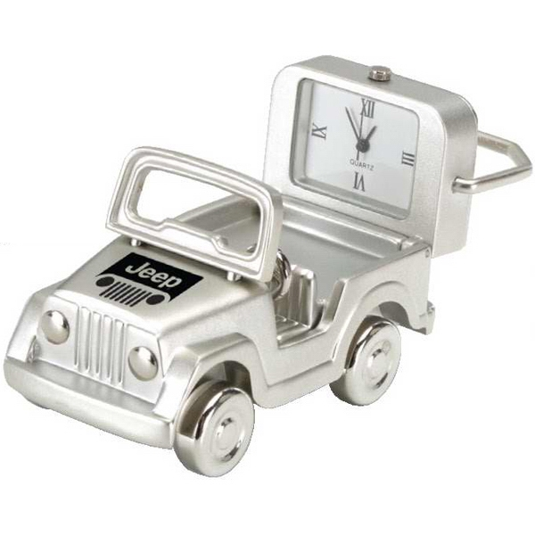 Silver Die Cast Silver Jeep Replica Desk Clock Photo