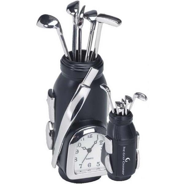 Black and Silver Metal Golf Bag Clock