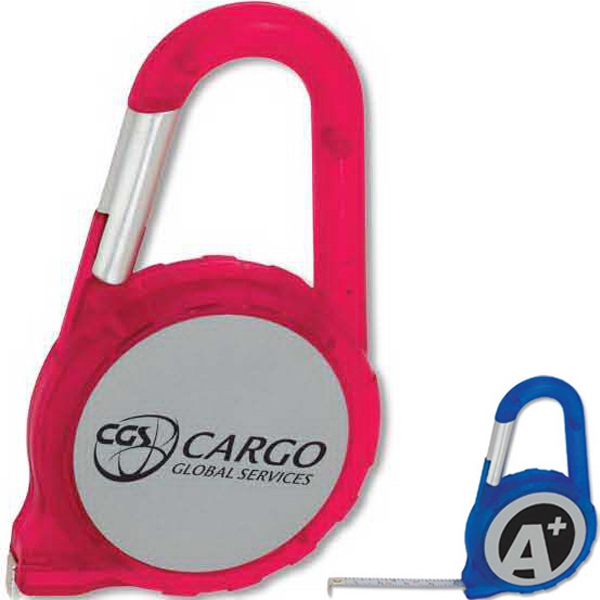 Carabiner Tape Measure With Silver Imprint Area Photo