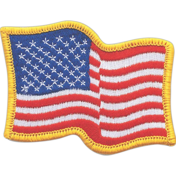 Waving American Flag Embroidered Patch Photo