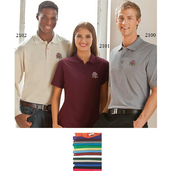 2 X L-3 X L - Long Sleeve Soft-blend Double Tuck Pique Polo Shirt Photo