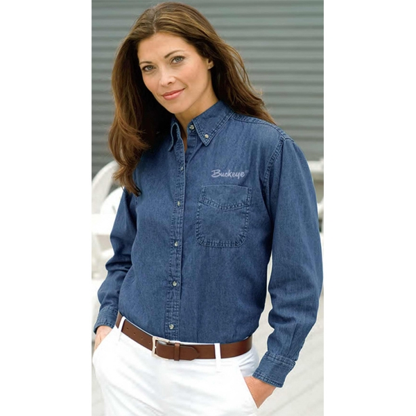 Woodbridge - 2 X L-3 X L - Women's Denim Shirt With Button Down Collar; 100% Cotton Photo