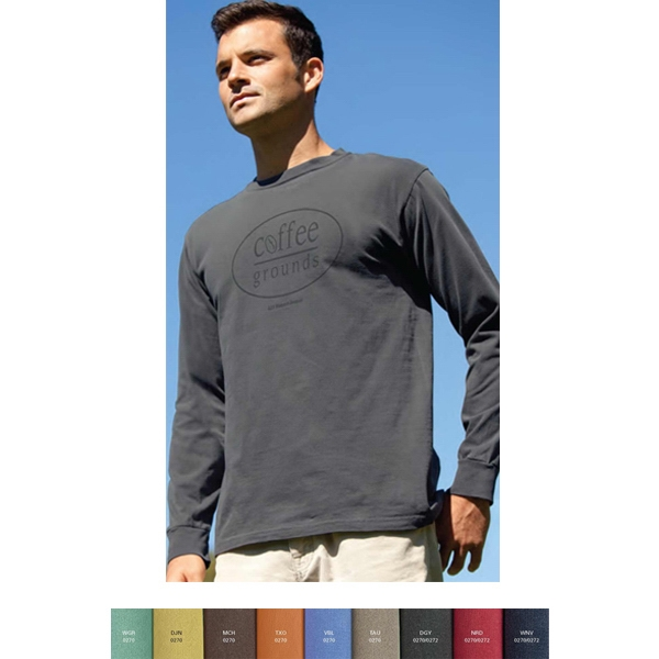 S- X L - Color Wash Long Sleeve T-shirt With Rib-knit Cuffs; 6 Oz Photo