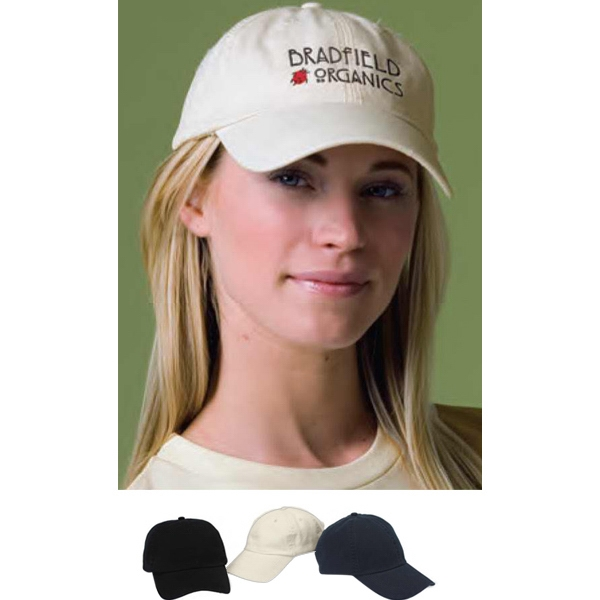 Organic Cotton Washed Twill Cap Has Adjustable Velcro Back Closure Photo