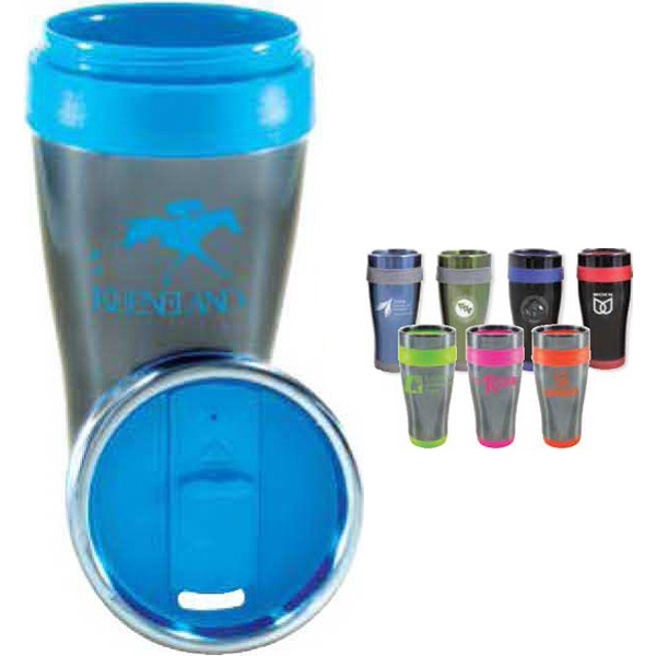 Cornado - 16 Oz Tumbler With Stainless Steel Outer Wall With Color Plastic Liner Photo