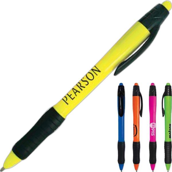 Vivid - Pen With Plastic Barrel In Bright Neon Colors. Black Clip And Grip Photo