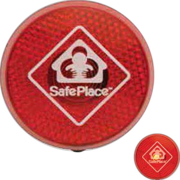 Circle Safety Flasher Has Reflective Led Light , On/off Button On Back Photo