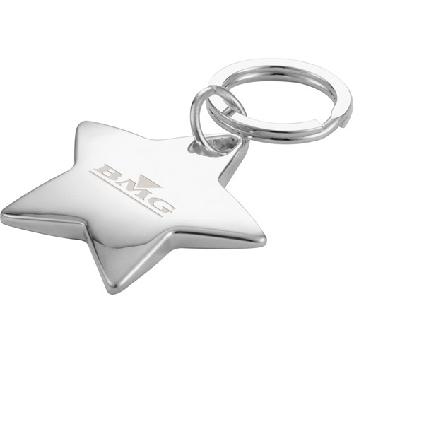 Star Shaped Chrome Plated Nickel Key Ring Photo
