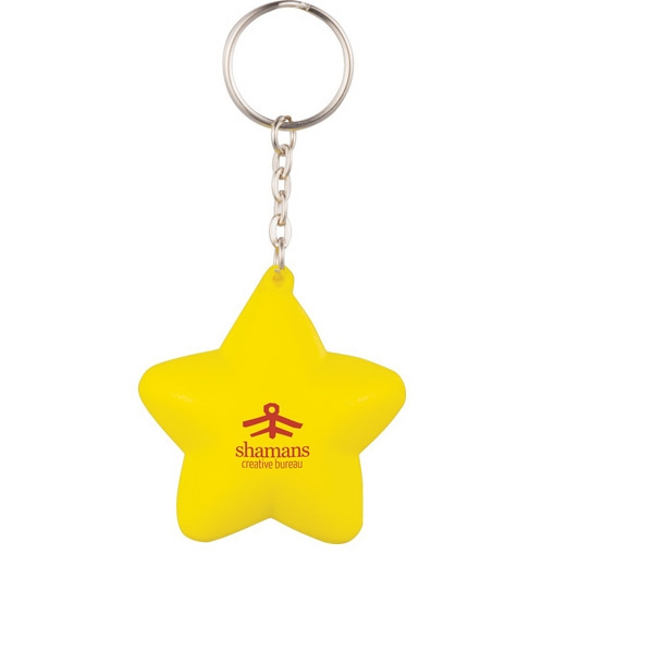 Polyurethane. Squeezable Foam Star With Keychain Photo