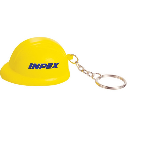 Polyurethane. Squeezable Foam, Hard Hat Shaped Stress Reliever With Keychain Photo