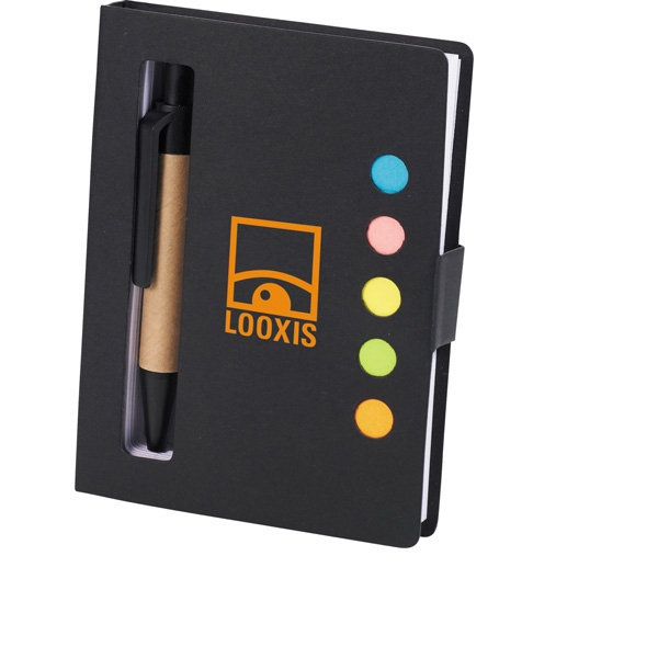 Sticky Note Book In Paper Cover With Assorted Sticky Flags, Mini Ballpoint Pen Etc Photo