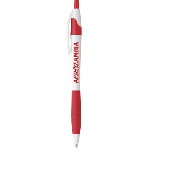 Cougar (r) - White Barrel Ballpoint Pen With Rubber Grip Photo