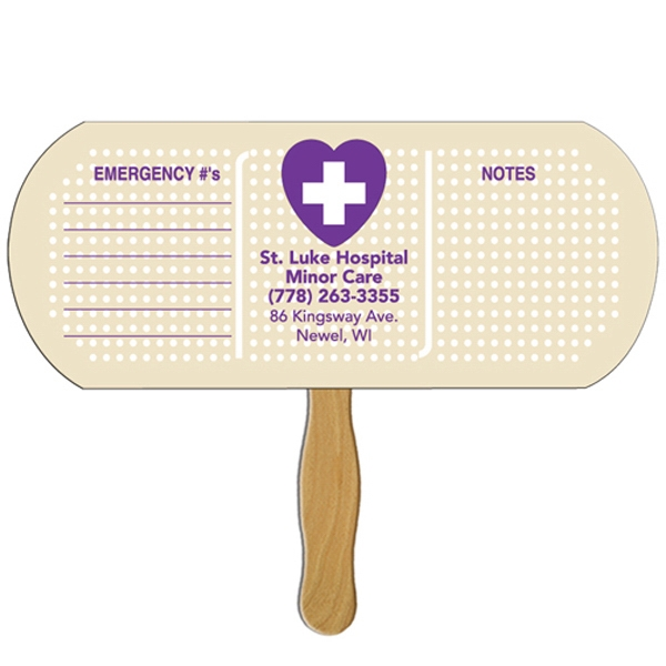 Band Aid/pill Shaped Fan With Wooden Stick Photo