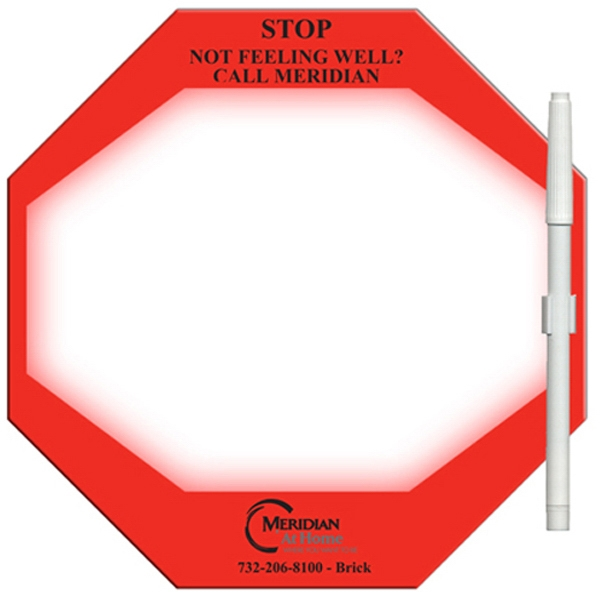 Stop Sign Shaped Dry Erase, Laminated Memo Board With Marker Photo