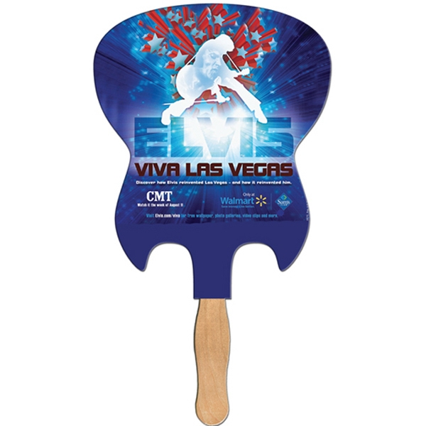 Electric Guitar Shaped Digital Economy Fans With Double Sided Film Lamination Photo
