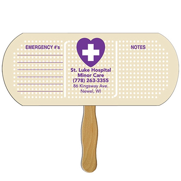 Digital Printed Bandage/pill Shape Auction Fan With Visible Wooden Stick Photo