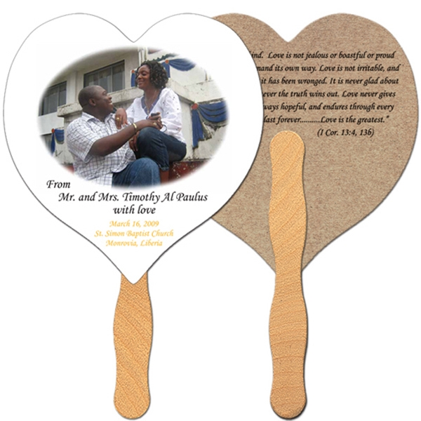 Heart Shaped Fan Is Laminated On Front With A High Gloss Finish Photo