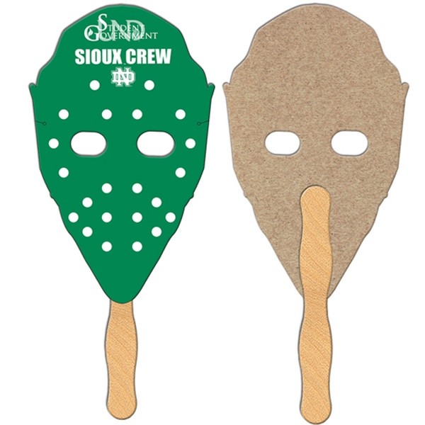 Hockey Mask Shaped Fan Is Laminated On Front With A High Gloss Finish Photo