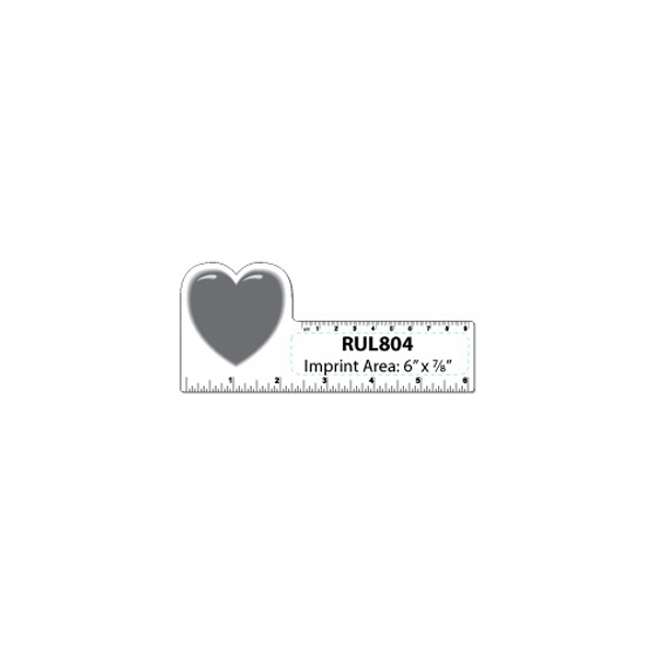 Small Heart Shape White Plastic Ruler Photo