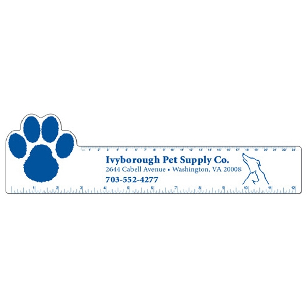 Paw - Large White Flexible Plastic Ruler Photo