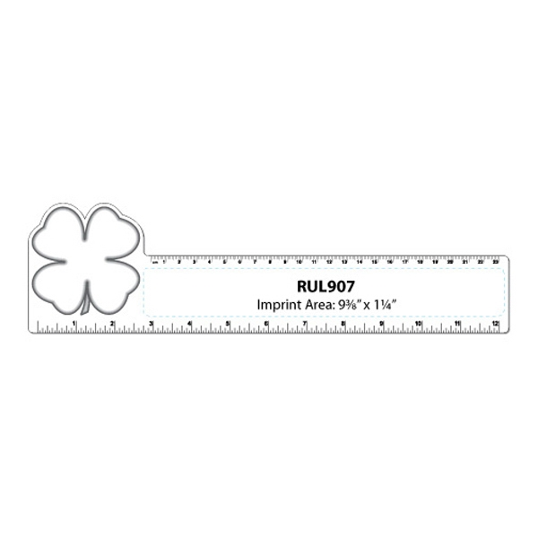 Small Clover/shamrock Shape Flexible White Plastic Ruler Photo