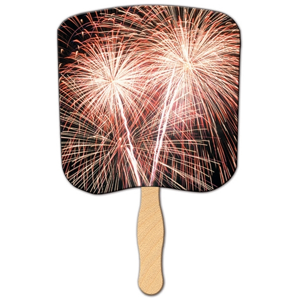 Stock Shape Hand Held Fan With Fireworks Design Photo