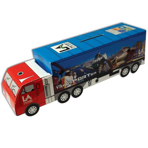 "Truck Bank, Made From 20 Pt. High Density White Poster Board, 2 1/4"" X 8 1/2"" Photo"