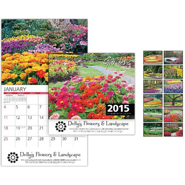 Peel-n-stick (r) - Gardens Wall Calendar. 13-months. Stapled Photo