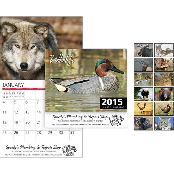 Peel-n-stick (r) - Wildlife Wall Calendar. 13-months. Stapled Photo