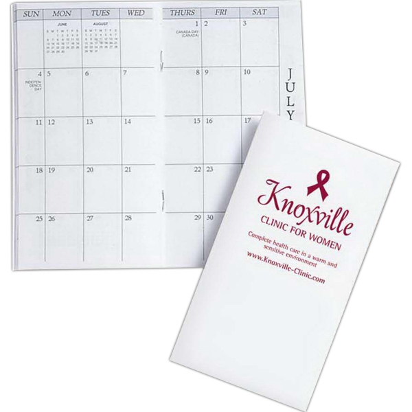 Monthly Pocket Planner With White 10 Point Paper Cover, Coated On One Side Photo