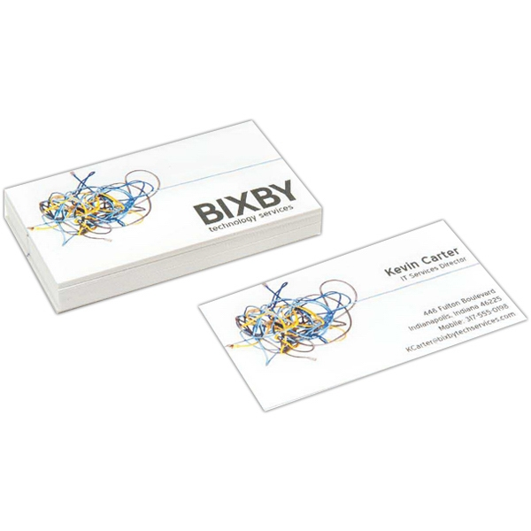Full Color Flat Business Cards - Full color white flat business cards, coated on two sides and UV Coated.
