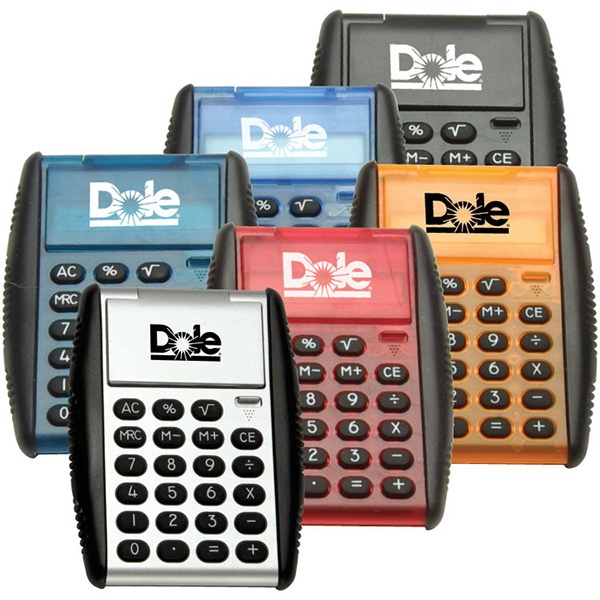Auto Flip Calculator. 8-digit Pocket Calculator. Rubberized Grip Photo