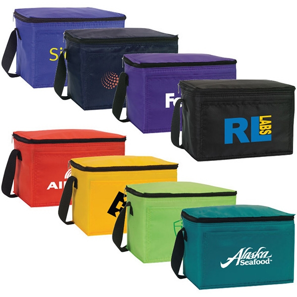 Belmont - Nylon 6 Pack Cooler Features Black Zipper And Strap, Water Proof Lining Photo