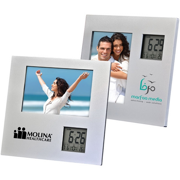 "Photo Frame With Two Way Clock. Holds A 3 1/2"" X 5"" Photo. Digital Clock Photo"