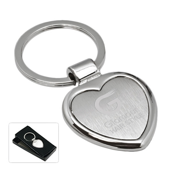 Cupid - Heart Shaped Key Tag. Silver Tone Photo