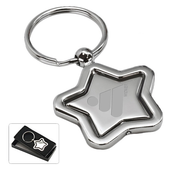 Vanderbilt - Revolving Star Key Tag. Silver Tone Photo