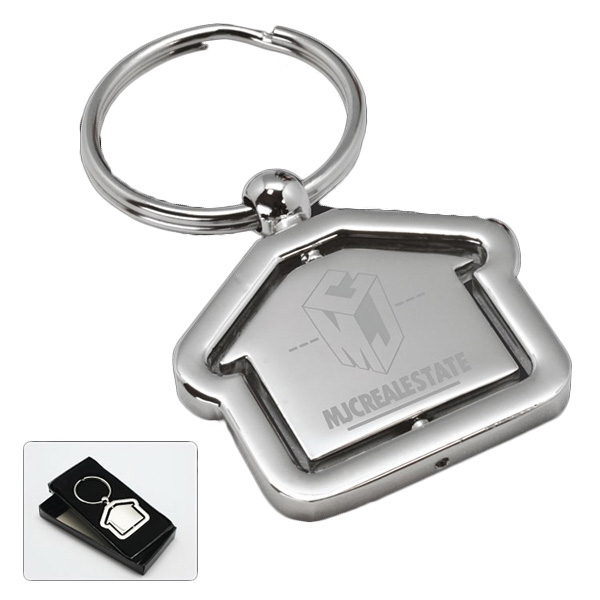 Rochester - Revolving House Key Tag. Silver Tone Photo