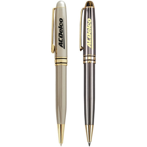 Classic Silvers - Twist Action Brass Ballpoint Pen. Shiny Gold Trim Photo