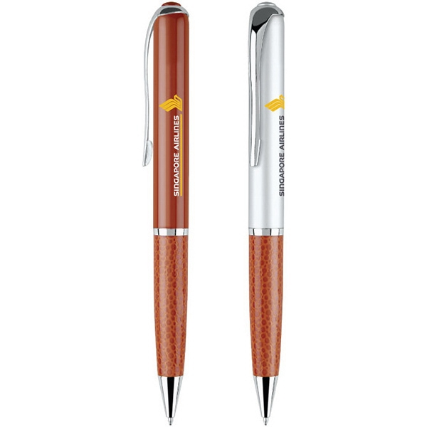 Ascoli - Twist Action Ballpoint Pen With Leatherette Barrel And Chrome Accents Photo