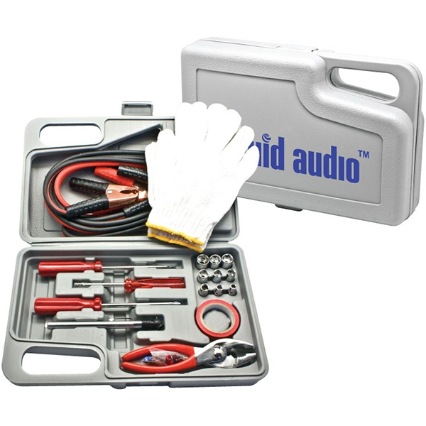 Automobile Tool Kit With Jumper Cables, Tire Gauge Screwdrivers And More Photo