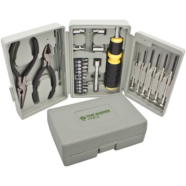 Tool Set. Includes Screwdrivers, Sockets, Pliers, Wire Cutter Stripper And Ratchet Photo