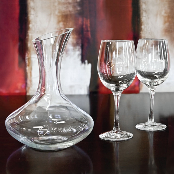 Overseas, Set Includes One Liter Wine Decanter And Two 12 Oz Wine Glass Photo