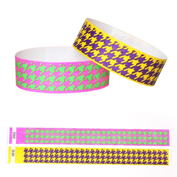 "Preprinted Houndstooth Design, Tyvek 1"" Wristband Photo"