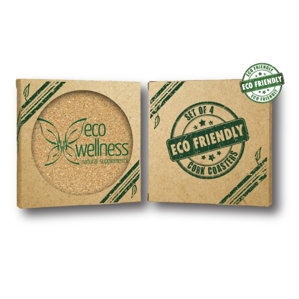 "4"" Circle Cork Coaster-Set of 4"
