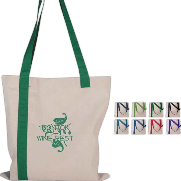 Economy - Silkscreen - Striped Tote Bag Made Of Quality Cotton Sheeting Photo