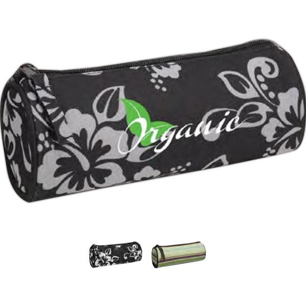 Printed Barrel Vanity Case With A Zippered Closure Photo
