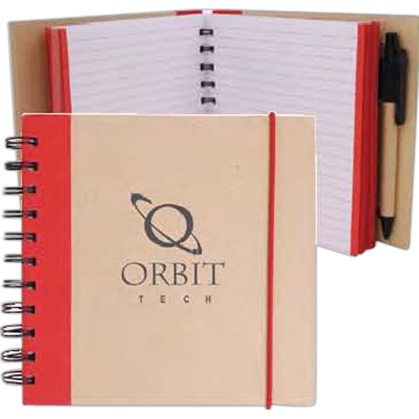 V Natural (tm) - Spiral Bound Notepad With Hard Kraft Cover And Color Accent Photo